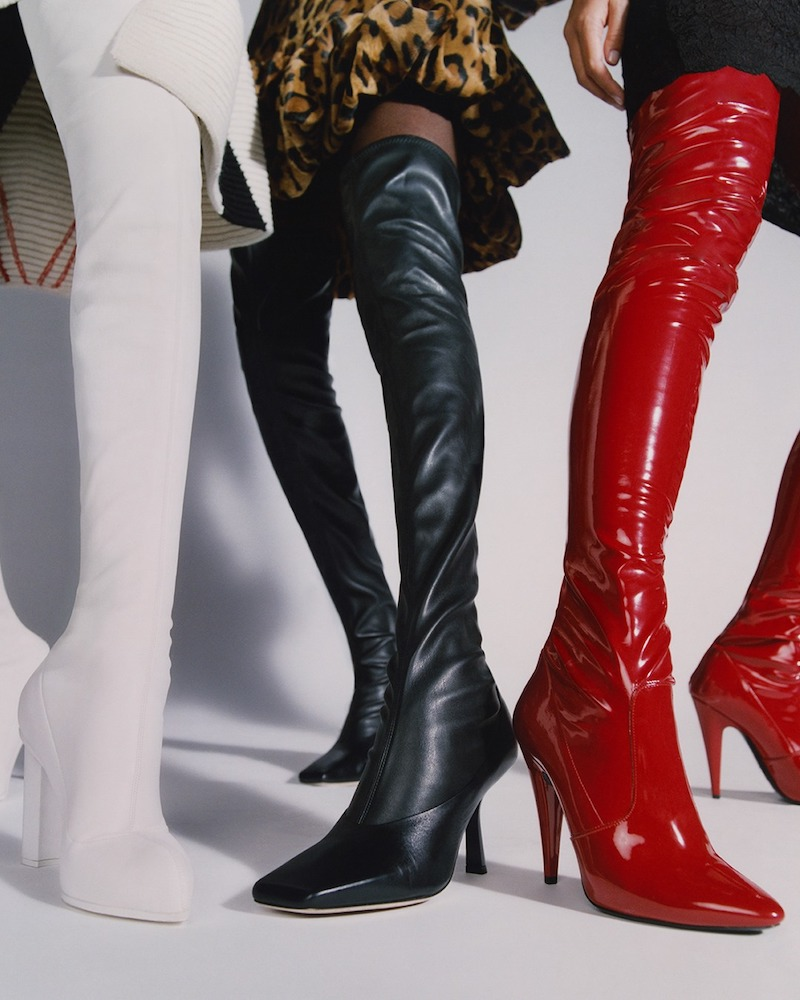 Saint Laurent Faux Patent-Leather Over-the-Knee Boots