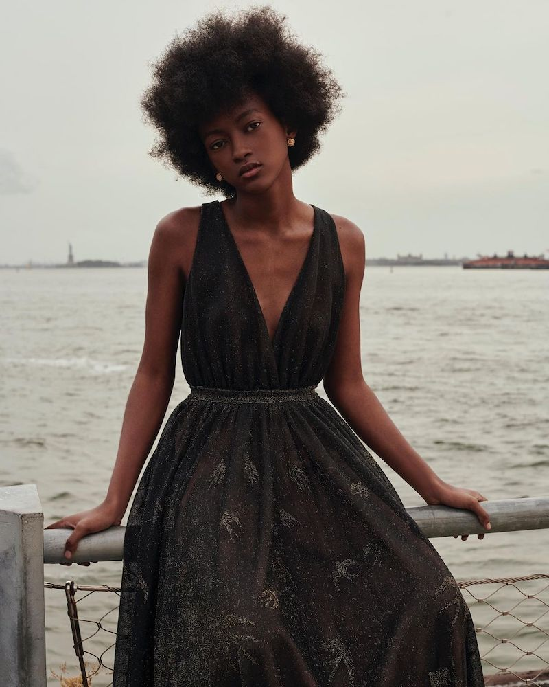 ALAÏA Birds Pattern V-Neck Sleeveless Metallic Gown