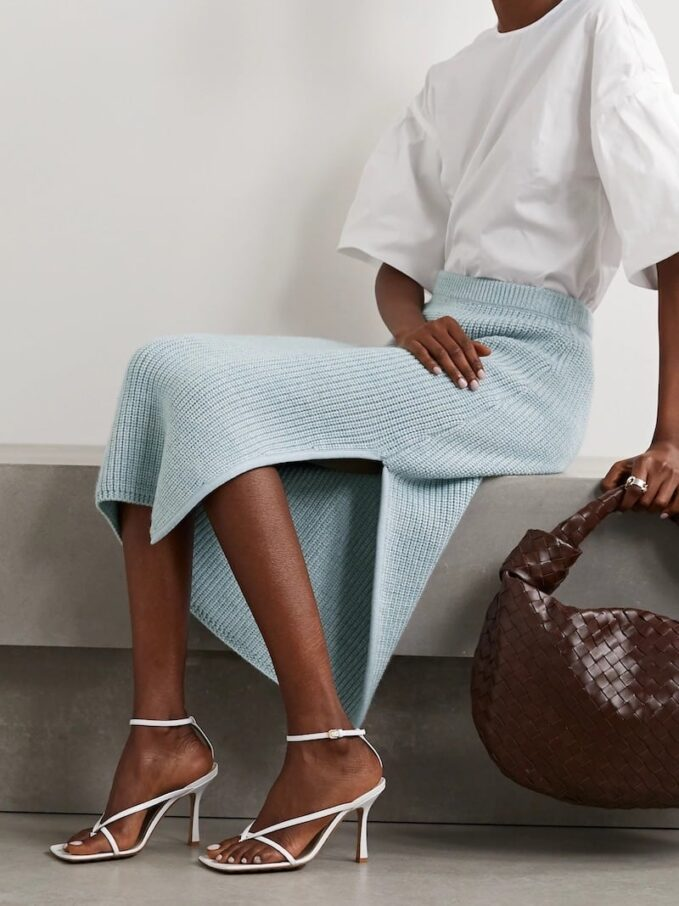 Adam Lippes Ribbed Wool, Silk And Cashmere-Blend Midi Skirt