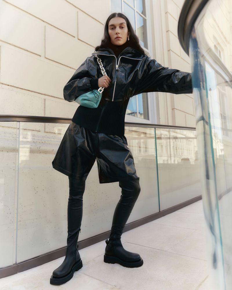 Bottega Veneta Hooded Layered Glossed-Leather and Ribbed-Knit Jacket