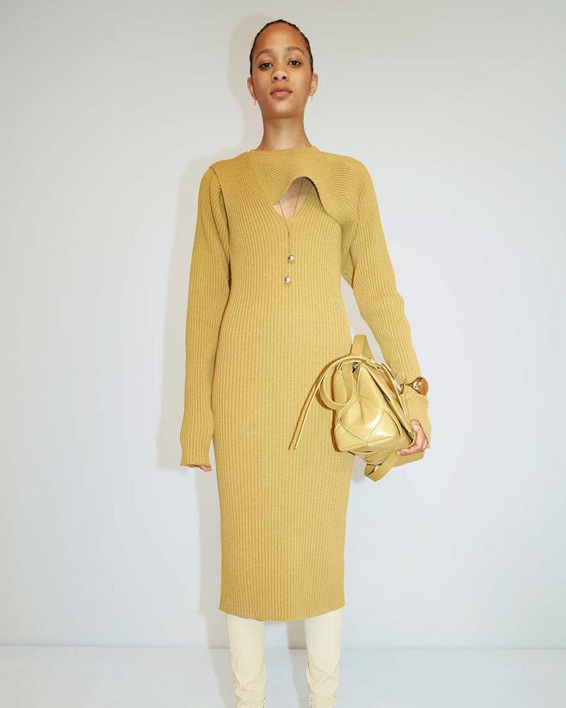 Bottega Veneta Ribbed Knit Cutout Midi Dress