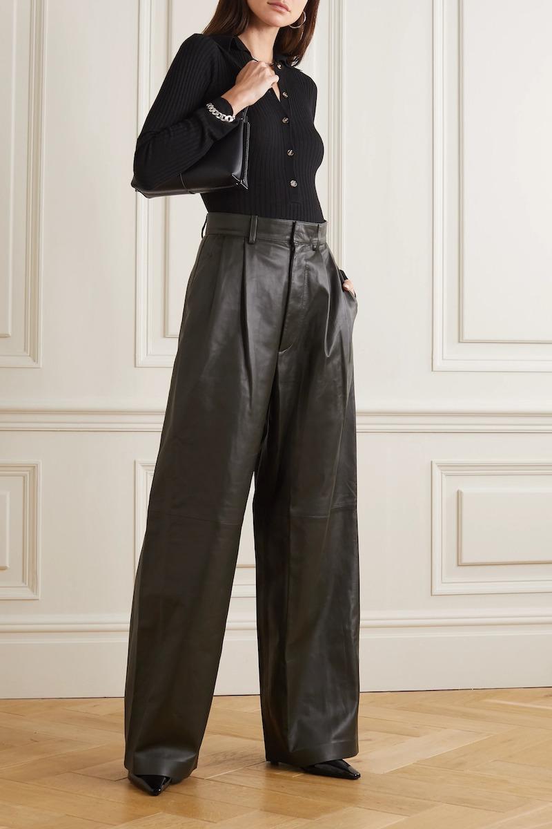 Dodo Bar Or Momo Leather Wide-Leg Pants