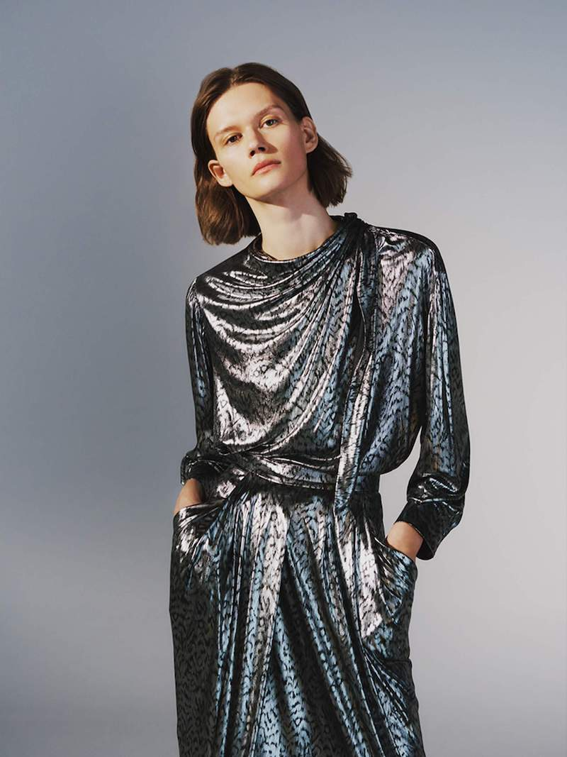 Isabel Marant Black Ruched Metallic Fil Coupé Chiffon Midi Dress