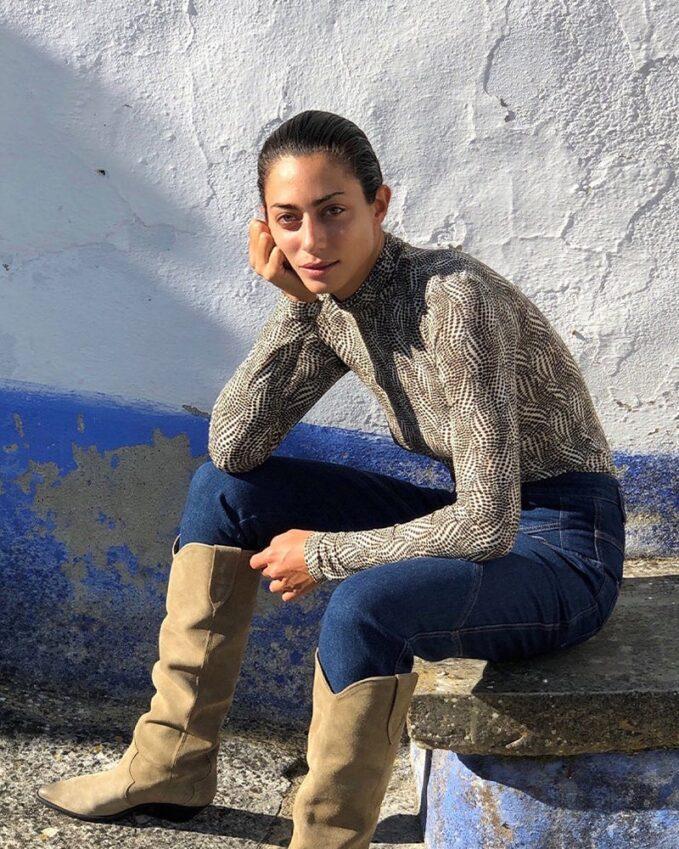 Isabel Marant Goyela Spot-Print High-Neck Jersey Top