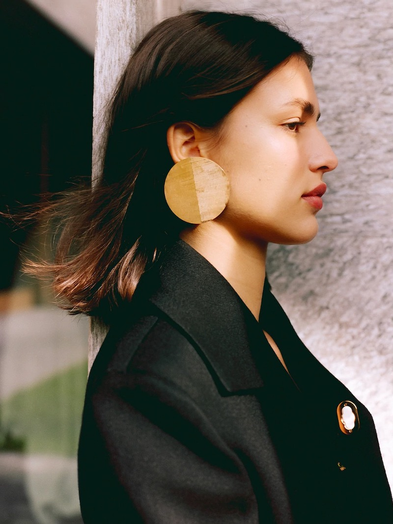 Jil Sander Big Medallion Stud Earrings