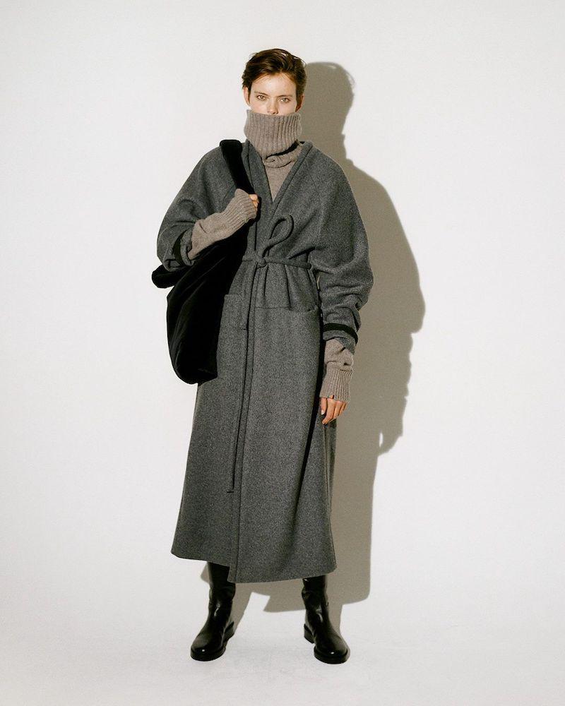 KASSL Editions V-Neck Wrapped Felted-Wool Blend Coat