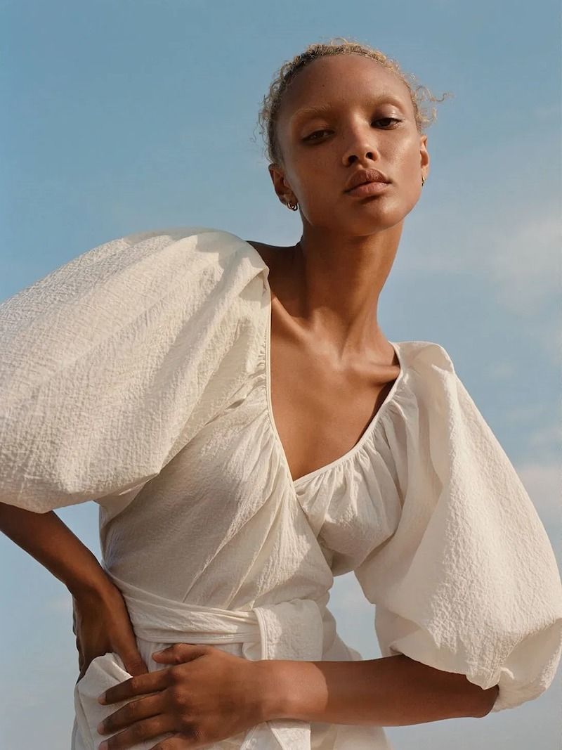 Mara Hoffman x NET SUSTAIN x LG Electronics Coletta Crinkled Organic Cotton Wrap Mini Dress