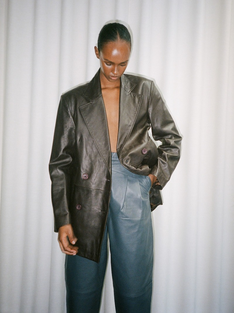 Remain Double Breasted Leather Blazer