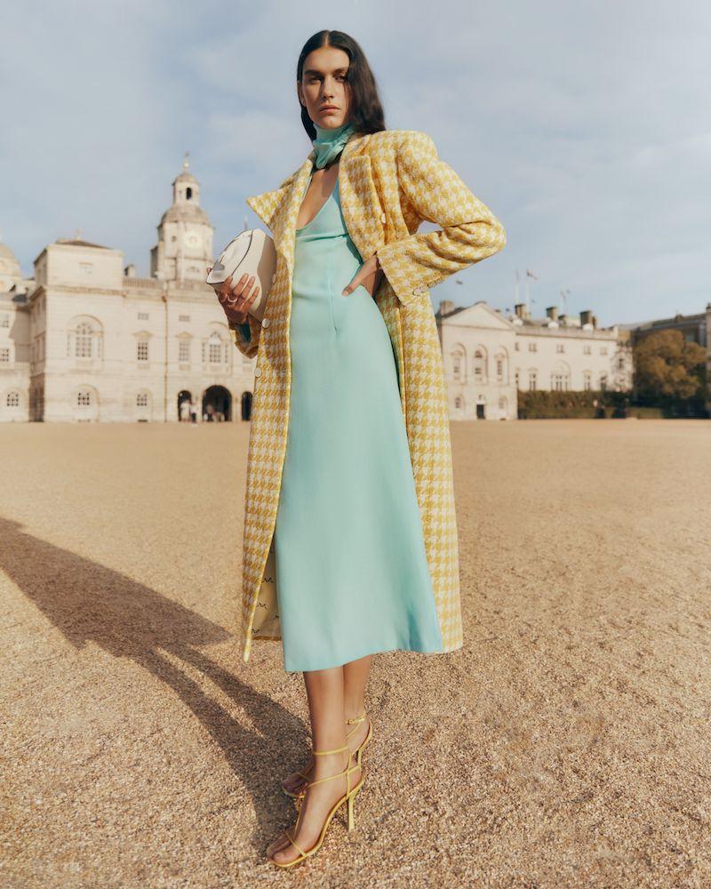 Rowen Rose Double-Breasted Houndstooth Tweed Coat