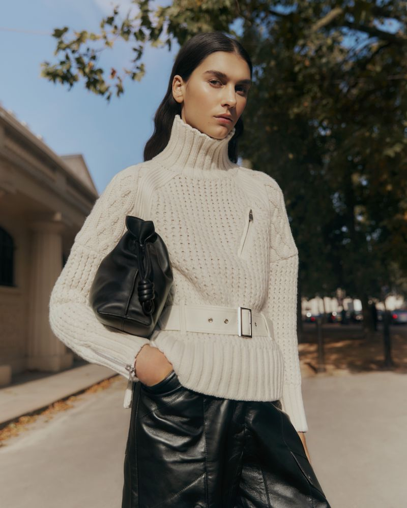 Sacai Belted Felt-Paneled Cable-Knit Wool Sweater