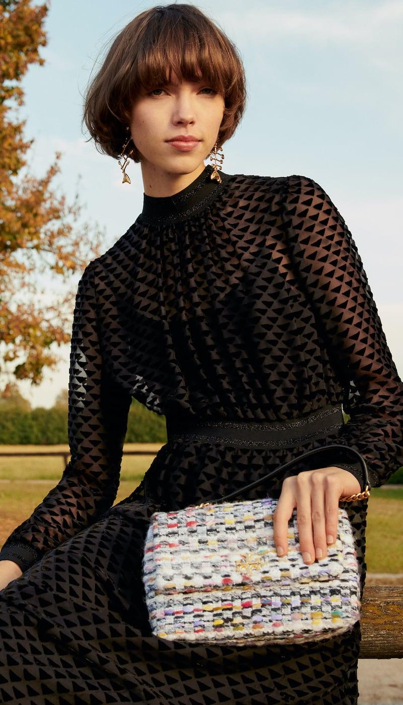 Tory Burch Kira Tweed Small Convertible Shoulder Bag
