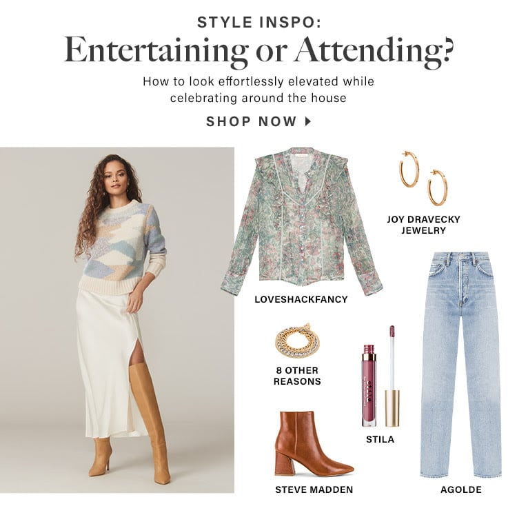 Style Inspo: Entertaining or Attending? DEK: How to look effortlessly elevated for every kind of party - Shop Now