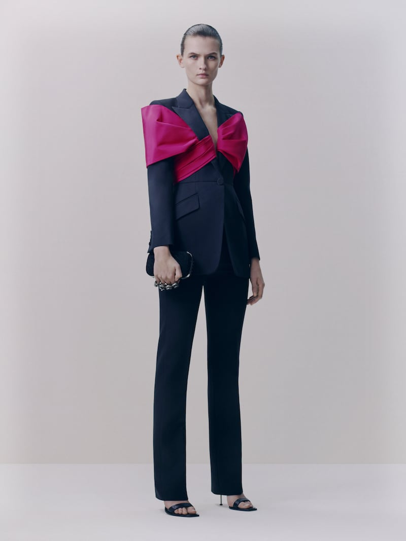 Alexander McQueen Bow-Embellished Wool-Blend Blazer