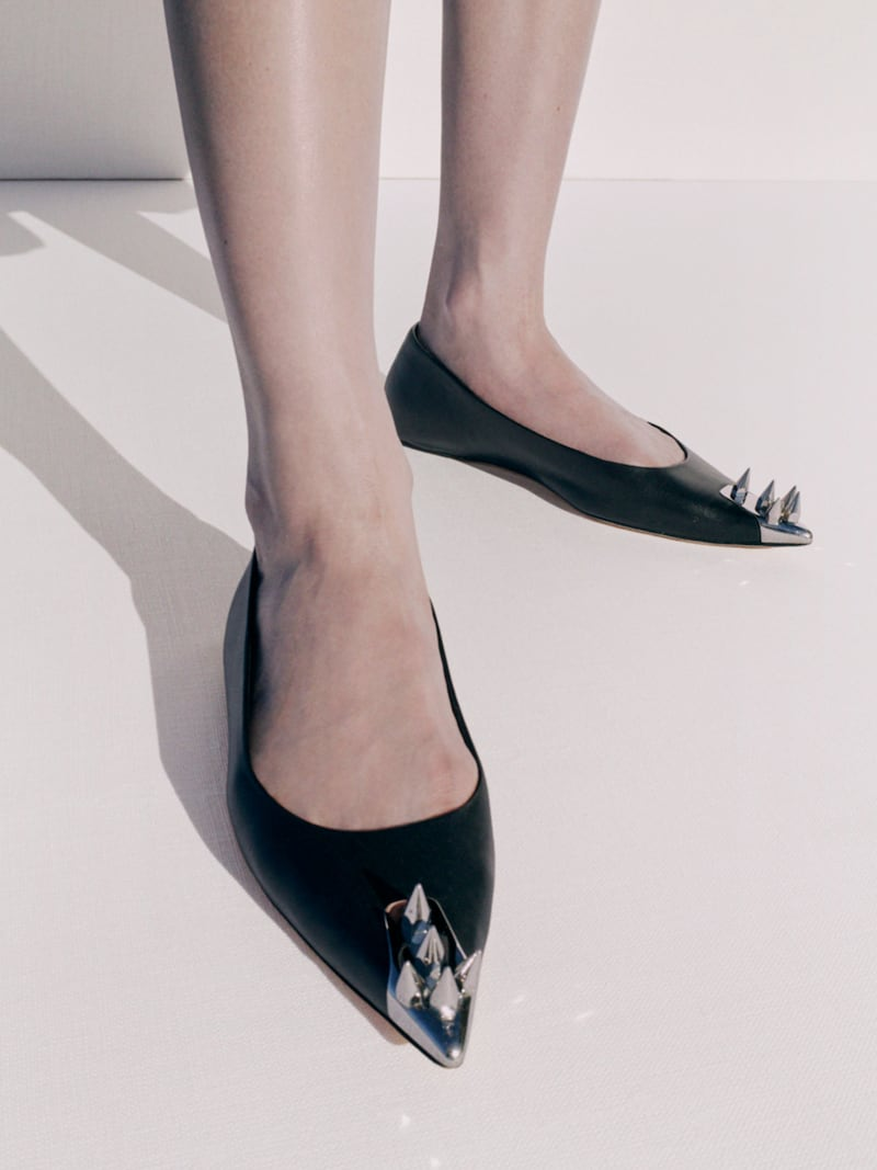 Alexander McQueen Spike-Embellished Leather Flats