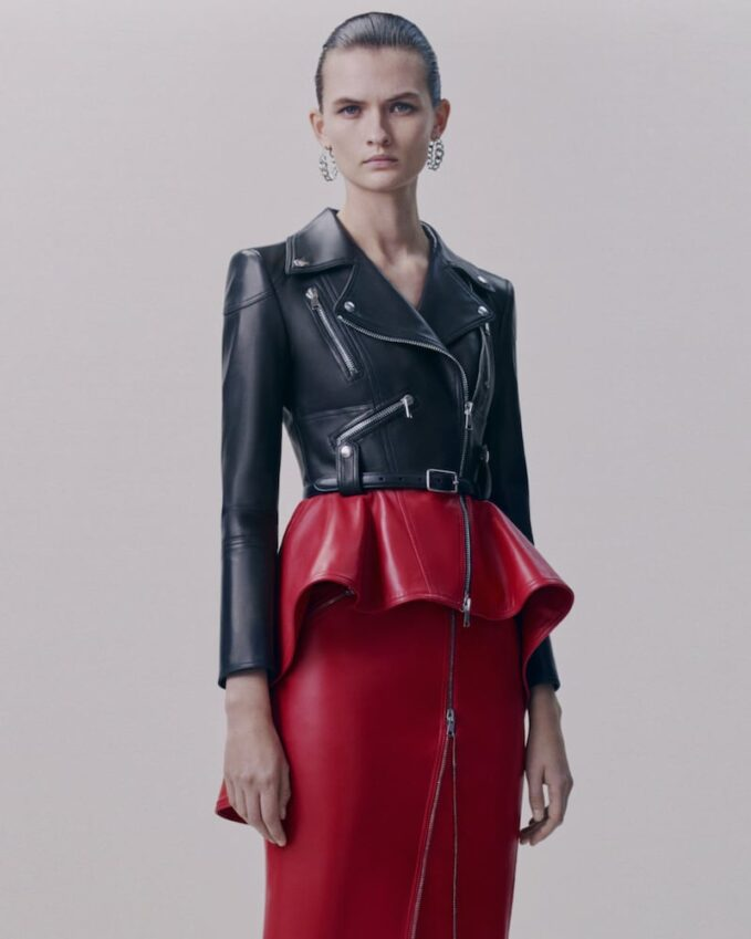 Alexander McQueen Two-Tone Leather Peplum Biker Jacket