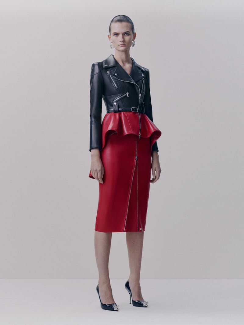 Alexander McQueen Zip-Embellished Leather Midi Skirt
