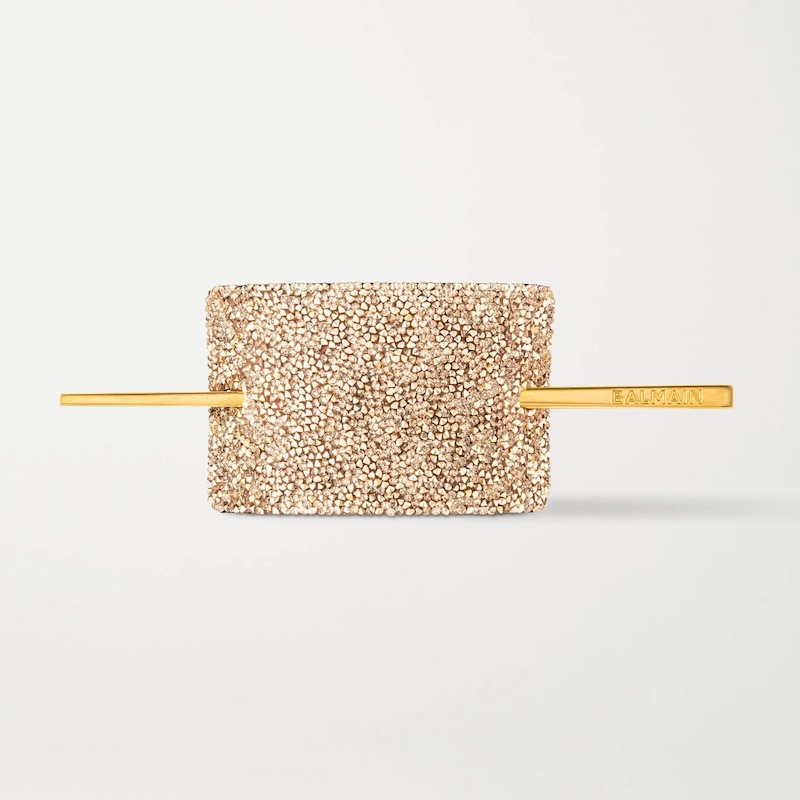 Balmain Paris Hair Couture Gold-Plated, Crystal and Leather Hair Pin