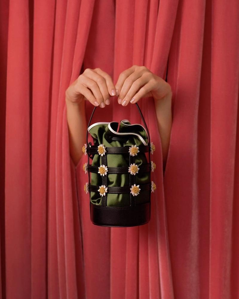 Fabrizio Viti Miss Daisy Raffia and Canvas Bucket Bag