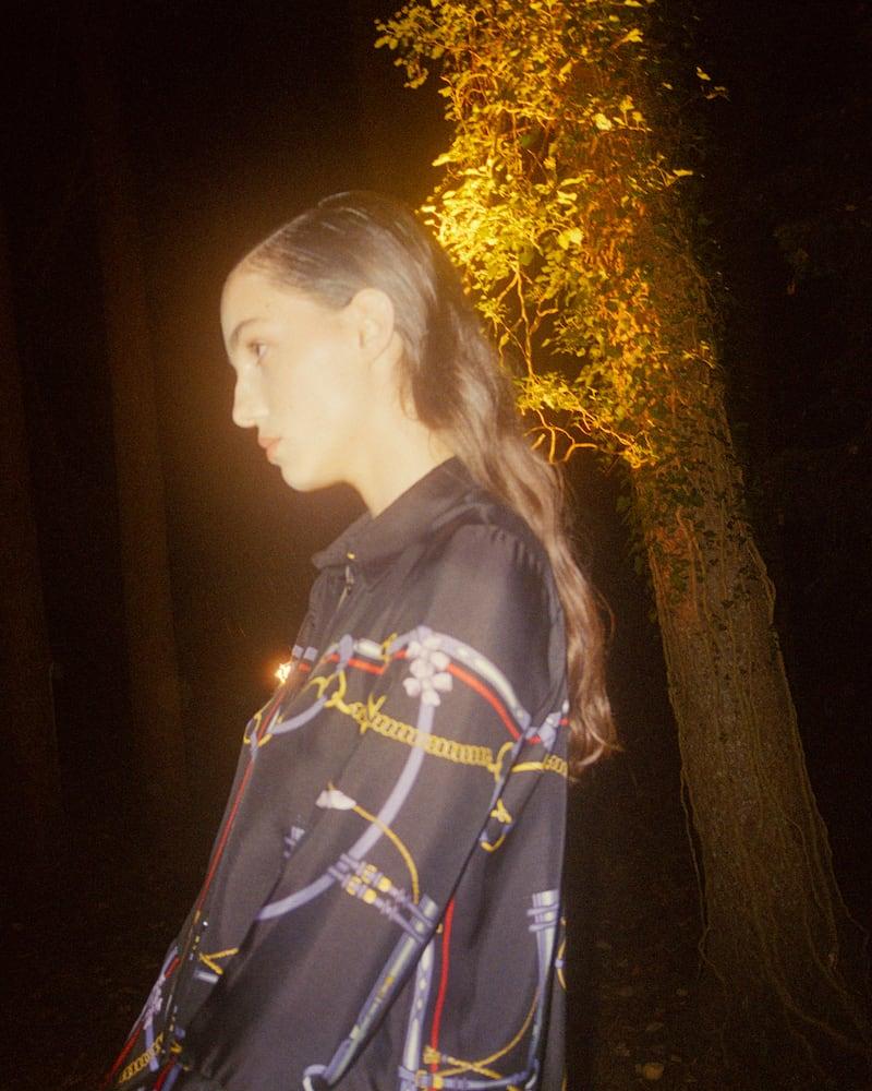 Khaite Ascher Ruffled Printed Silk-Satin Shirt