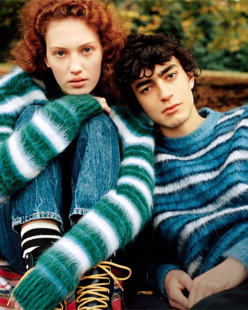 Marni V-Neck Striped Brushed-Knit Cardigan