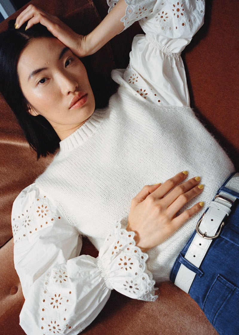 & Other Stories Embroidered Puff Sleeve Sweater