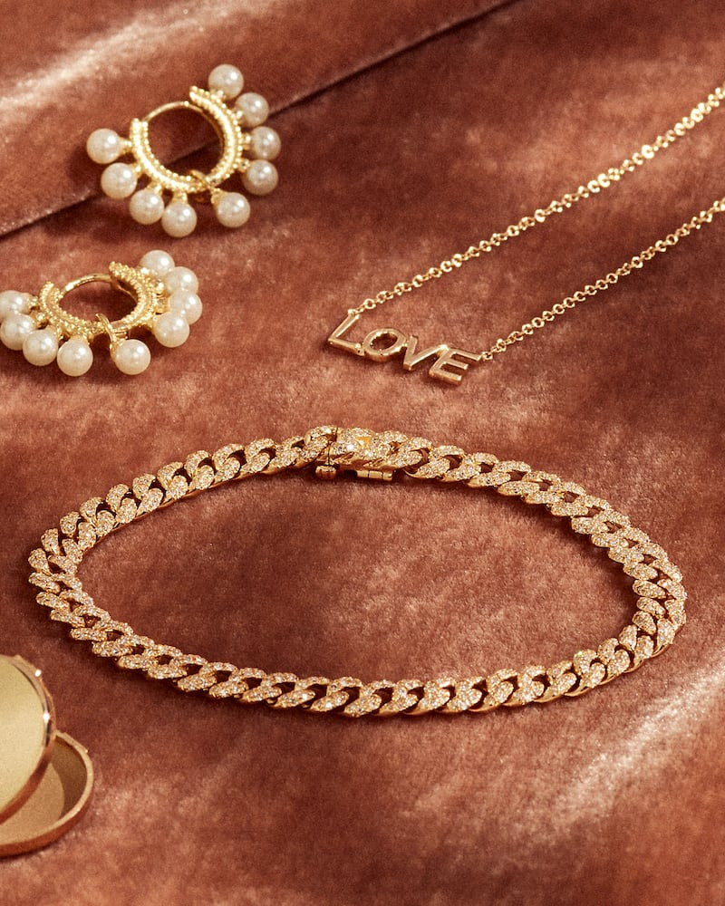 EF Collection 14k Mini Gold Love Necklace