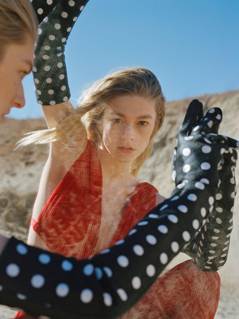 Emilia Wickstead Polka-Dot Satin-Jacquard Gloves