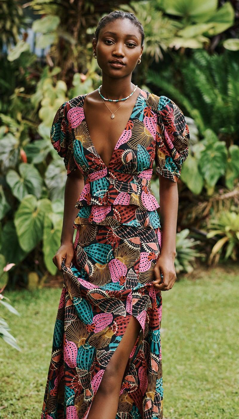 FARM Rio Shell Mix Midi Dress