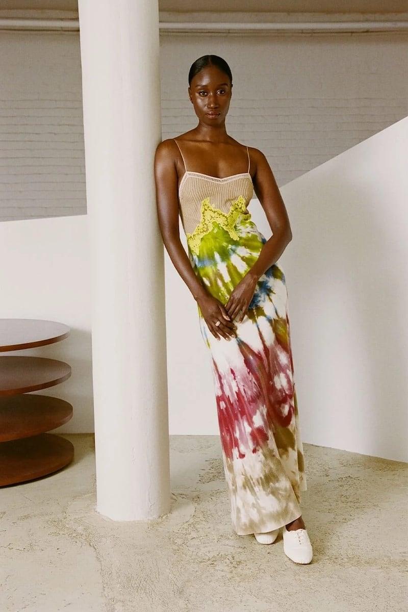 Gabriela Hearst Adolphine Lace-Trimmed Tie-Dye Cashmere Slip Dress