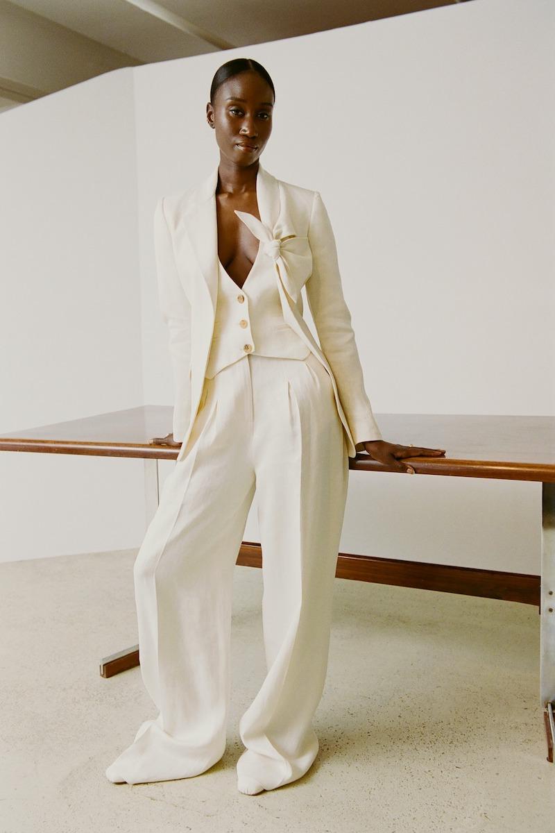 Gabriela Hearst Oslo Knotted-Lapel Linen Suit Jacket