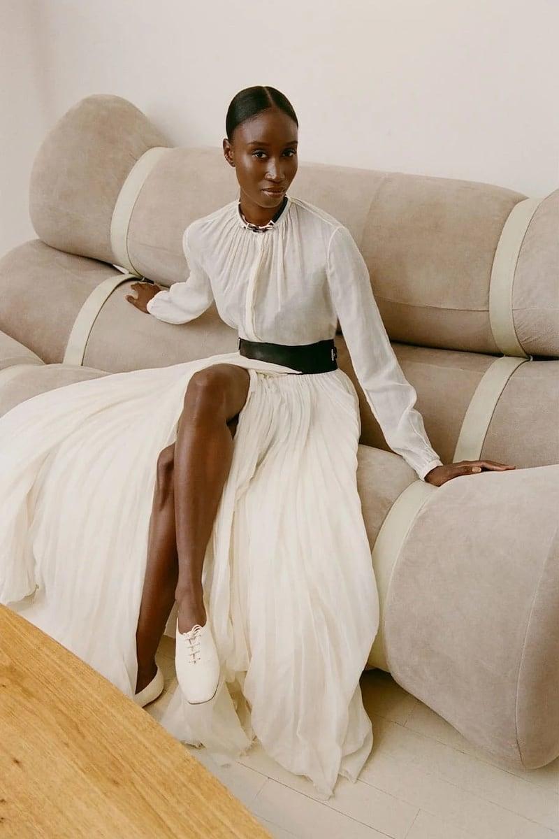 Gabriela Hearst Vlychos Leather-Strap Cotton-Blend Blouse
