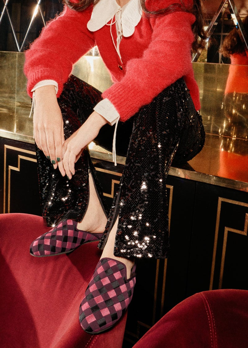 & Other Stories Pink Check Open Slippers