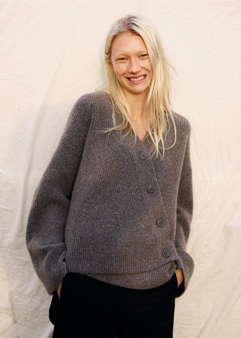 & Other Stories Relaxed Asymmetrical Knit Cardigan
