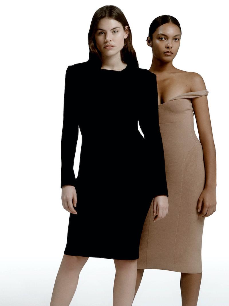 AZ Factory Mybody Draped Ribbed Stretch-Knit Dress