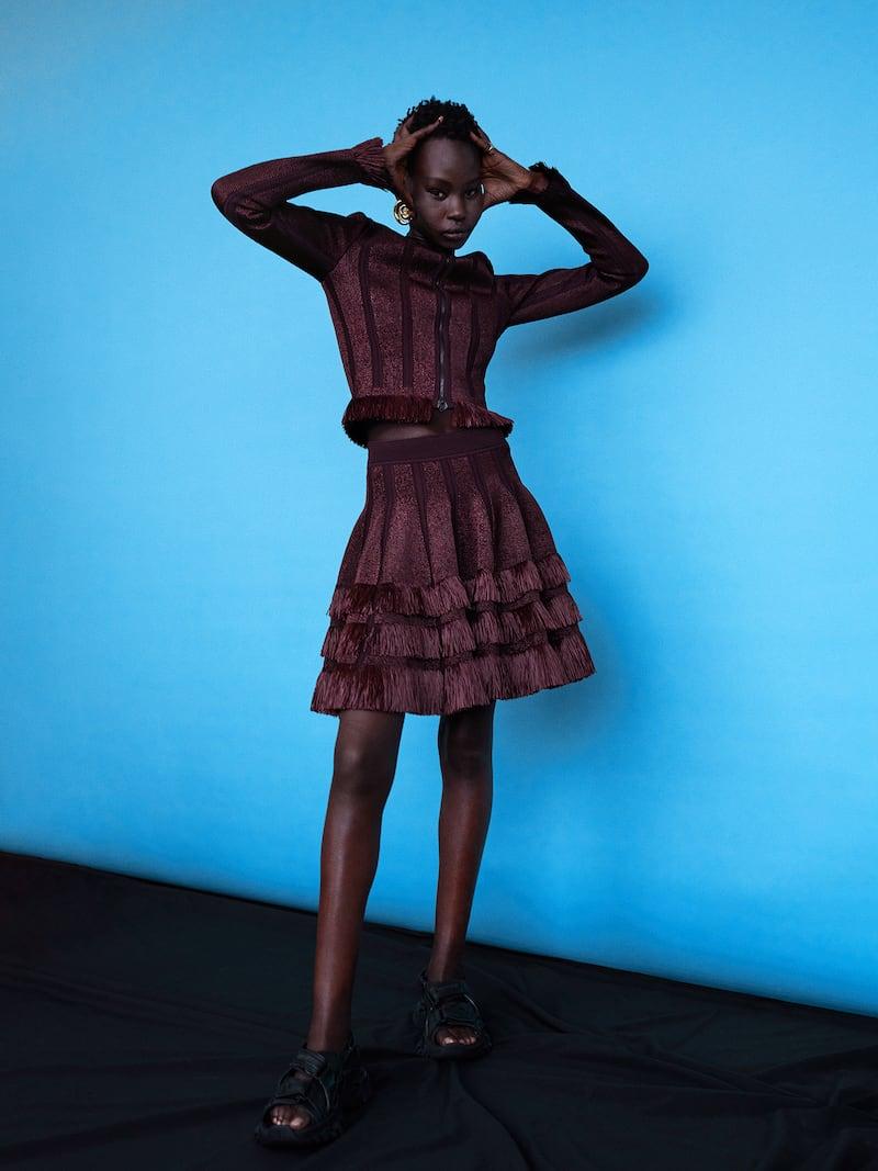 Alaïa Fringed Raffia and Laser-Cut Stretch-Knit Mini Skirt