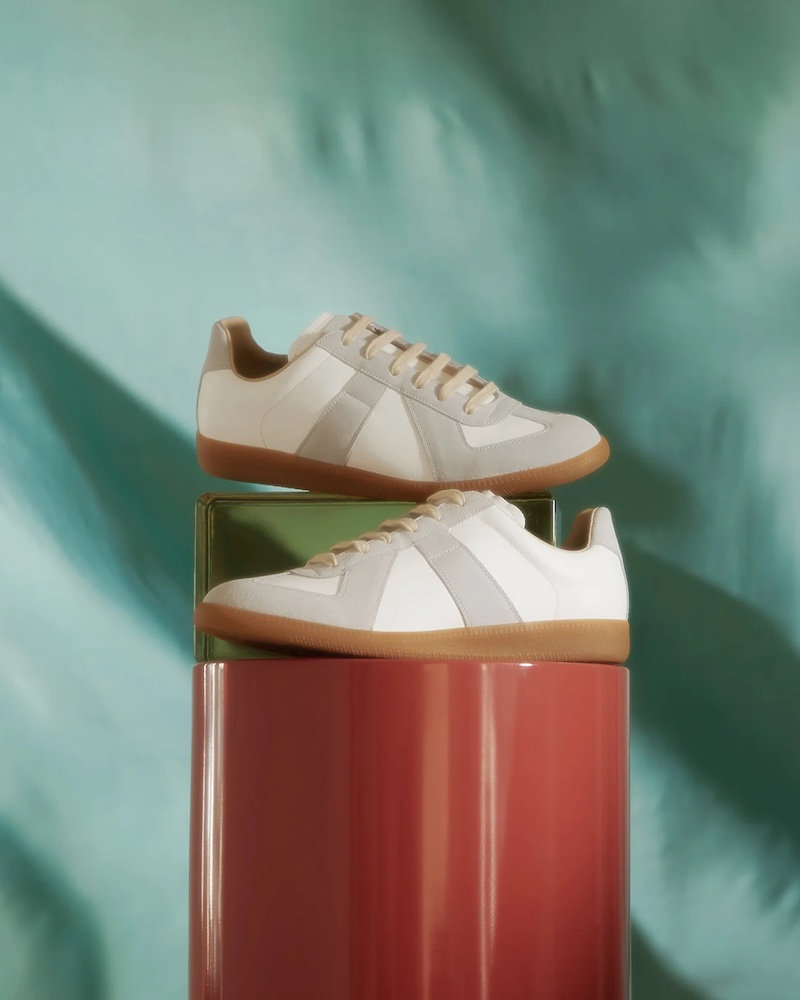 Maison Margiela Replica Suede-Panel Leather Trainers