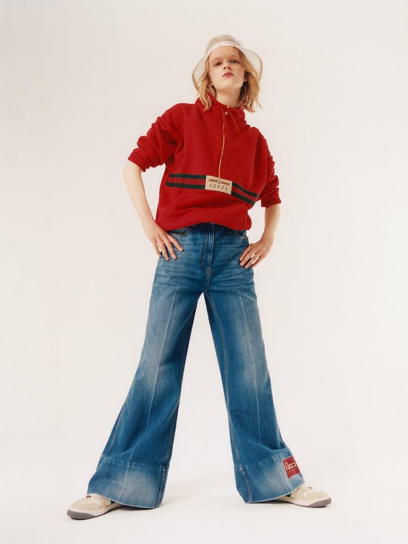Gucci Appliquéd High-Rise Flared Jeans