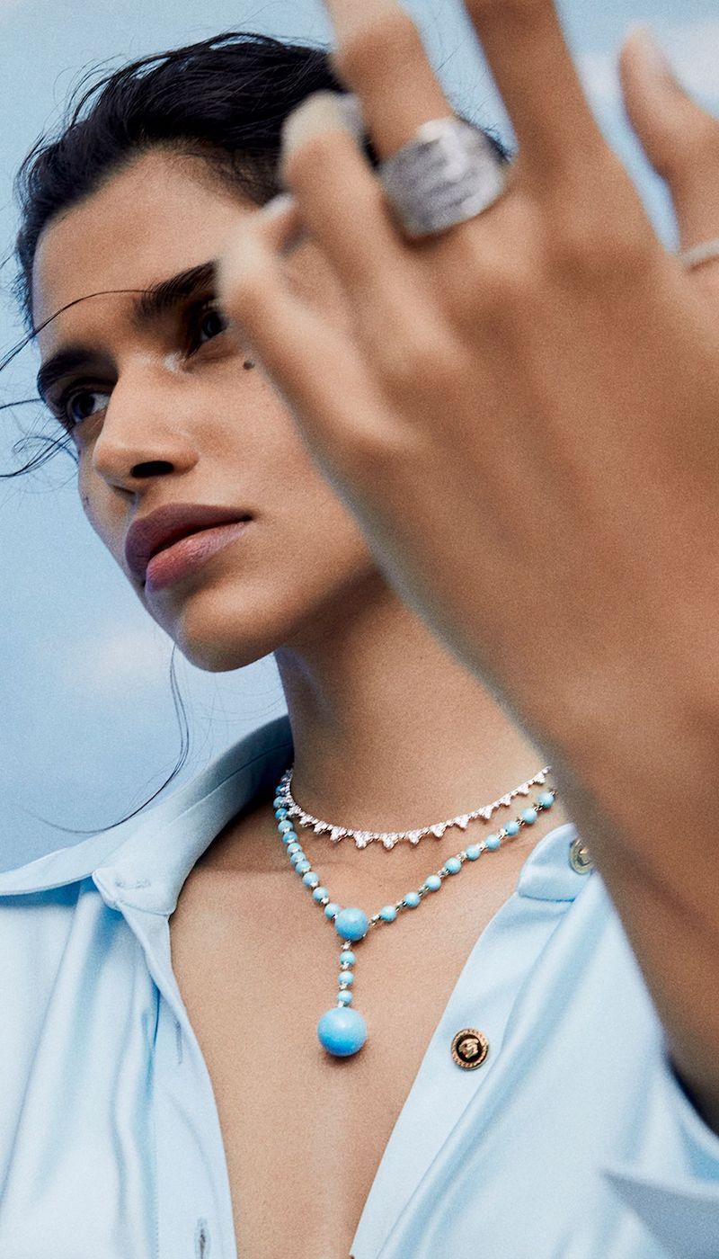 Irene Neuwirth Gumball 18-Karat White Gold, Turquoise and Diamond Necklace