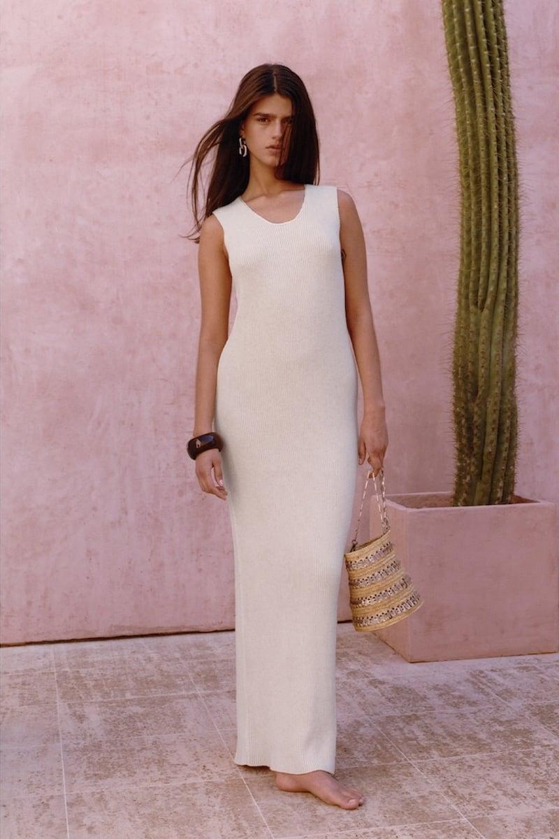Jil Sander Cotton Rib Long Knit Dress