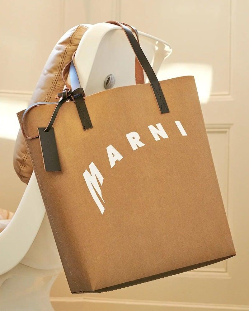 Marni Logo-Print Faux-Leather Tote Bag