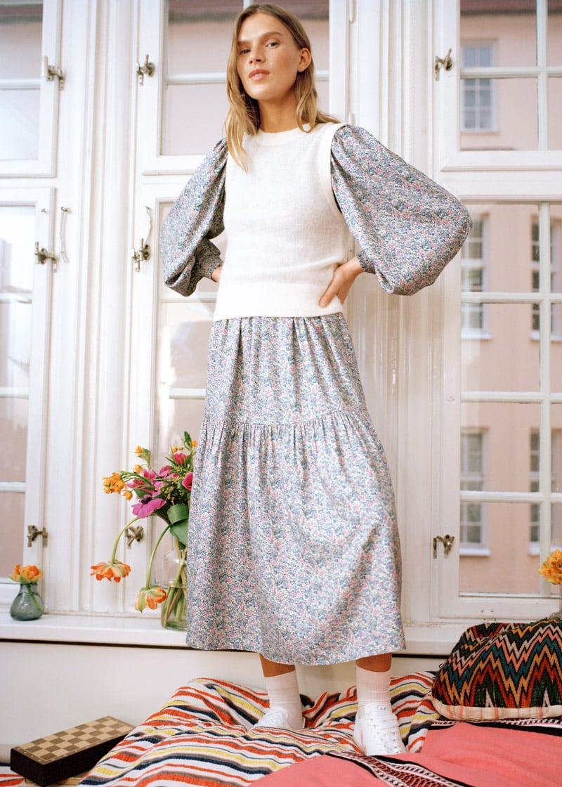 & Other Stories Voluminous Tiered Smock Midi Dress