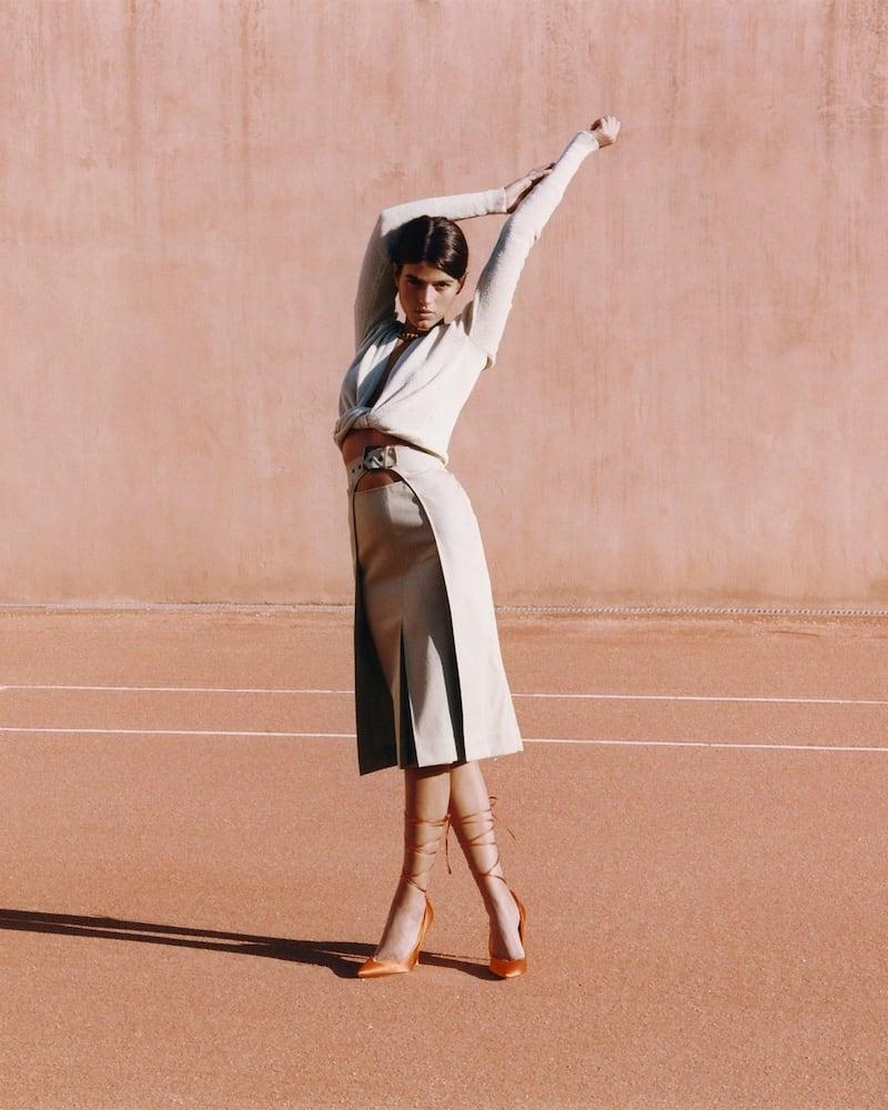 Rochas High Waist Cotton Midi Skirt