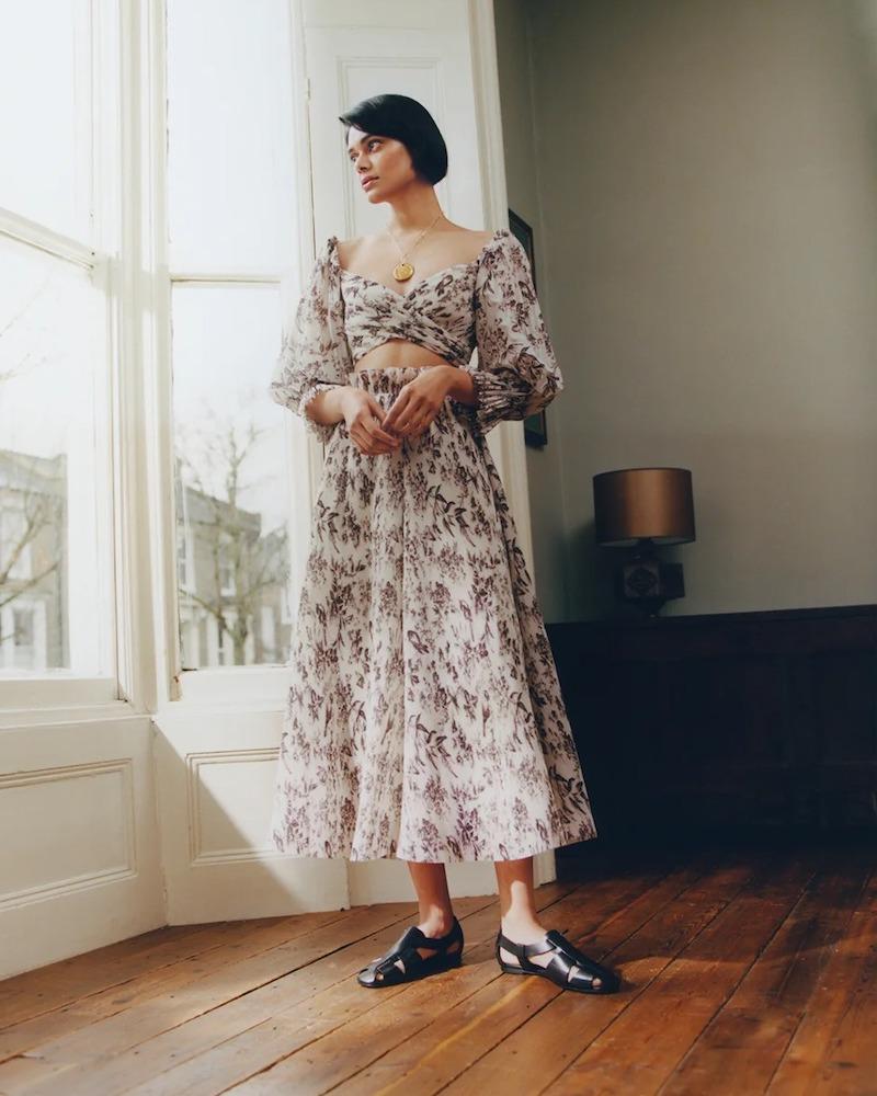 Zimmermann Bird-Print Pleated Midi Skirt