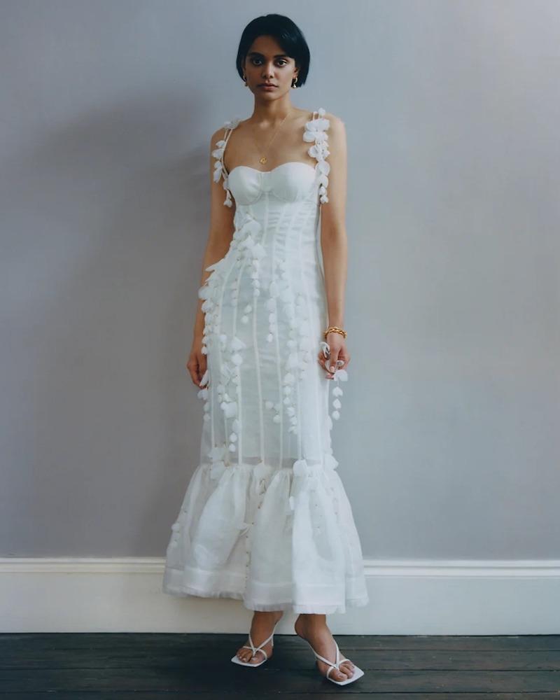 Zimmermann Botanica Petal-Trimmed Linen-Blend Organza Dress