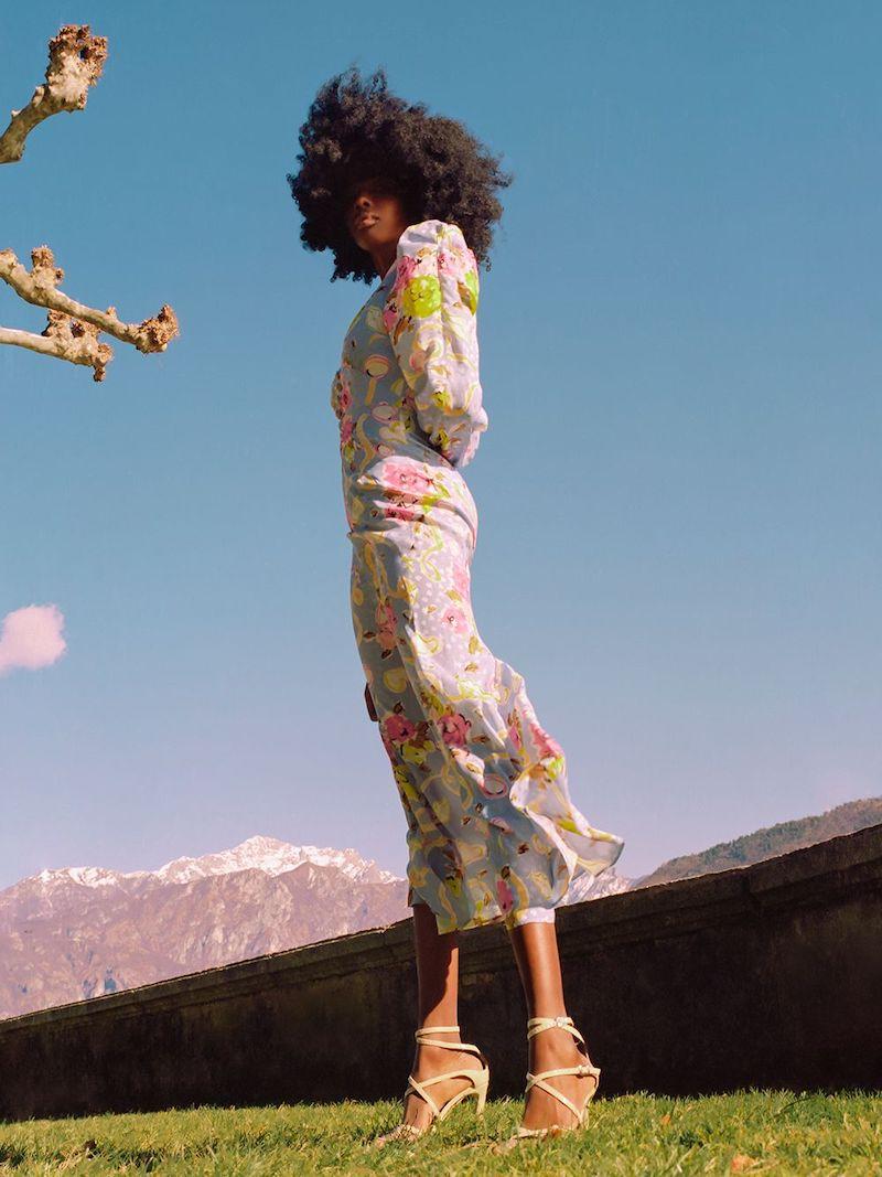 Alessandra Rich Floral Ribbon Printed Silk Long Dress
