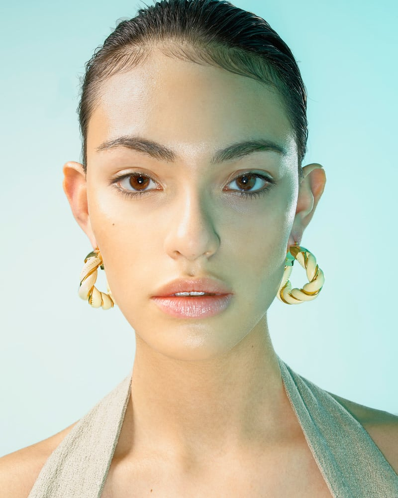 Bottega Veneta Leather and Gold Vermeil Triangle Hoop Earrings