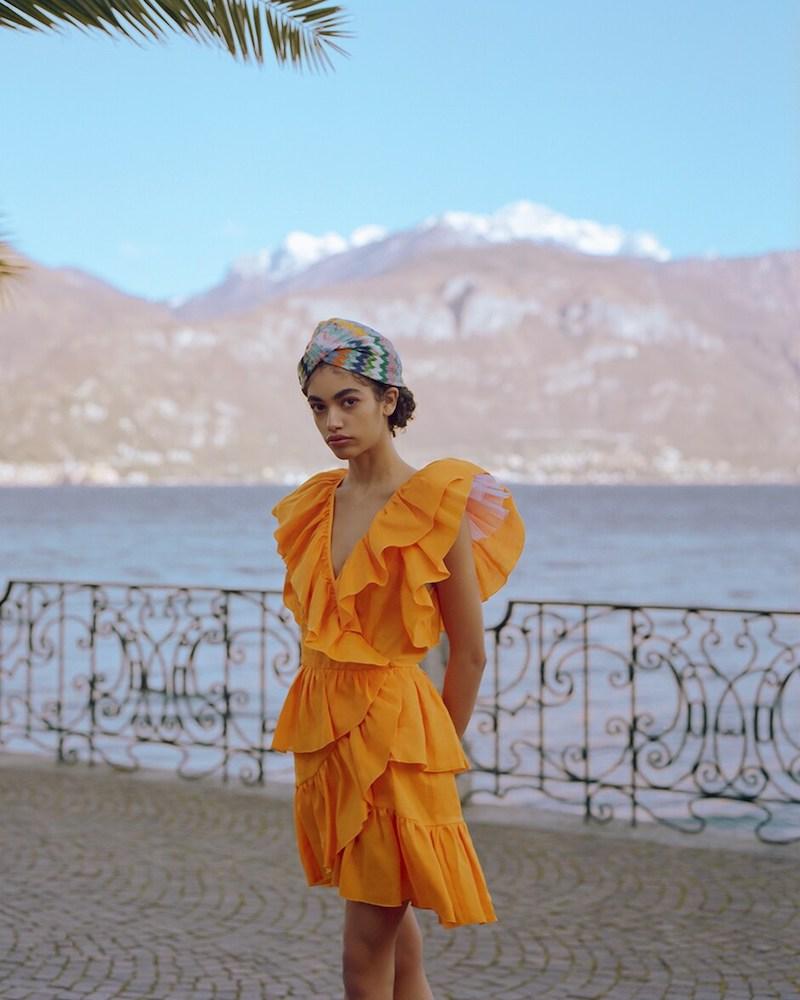 Dundas Ruffled Linen v Neck Mini Dress