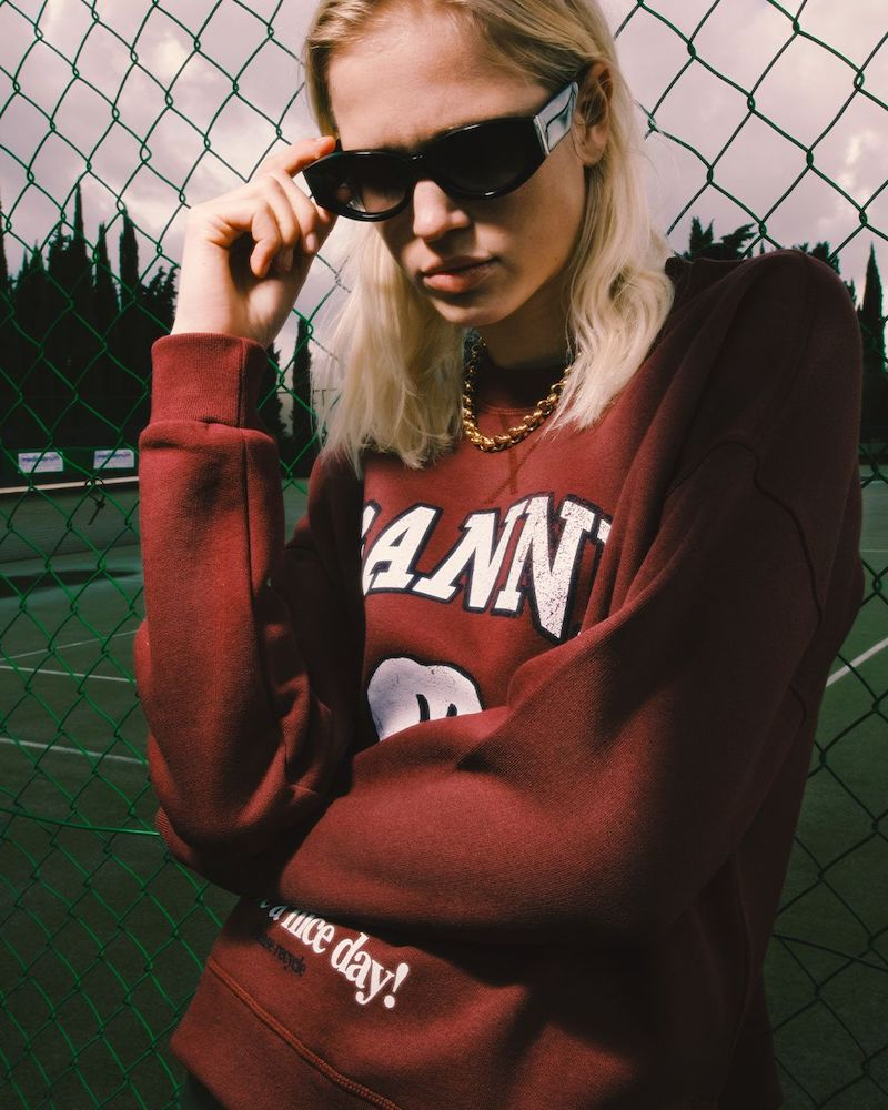 GANNI Logo Cotton Blend Fleece Sweatshirt