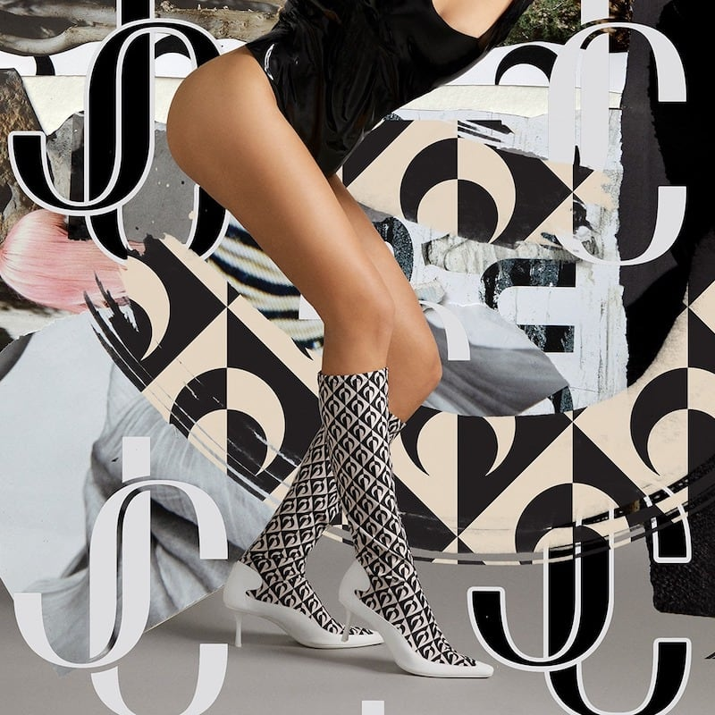 JC x MS Tan and Black Half Moon Printed Jersey and White Rubber Sock Calf Boots
