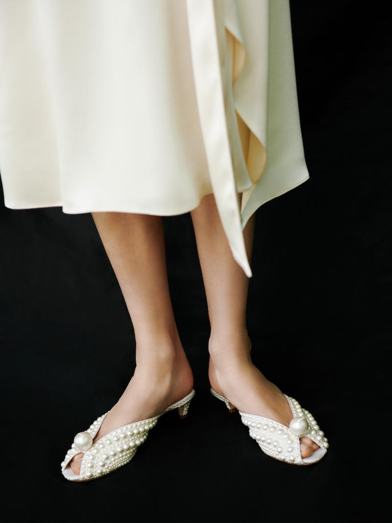 JIMMY CHOO Samantha Pearly Kitten-Heel Mules